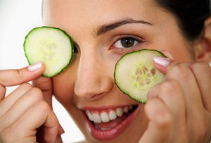cucumbers contain antioxidants which help reduce irritation and the cold reduces puffiness.