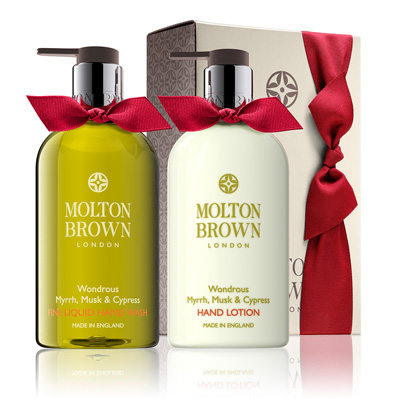 Mr Neo Luxe Christmas Gift Guide Molton Brown Wonderous Myrrh Musk & Cypress Hand Wash and Lotion