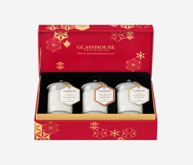 Glasshouse Fragrances Christmas Collection Miniature Candle Trio Mr Neo Luxe